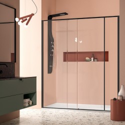 RUN - RECESS SHOWER ENCLOSURE - 1 SLIDING DOOR WITH INLINE PANEL ON EACH SIDE